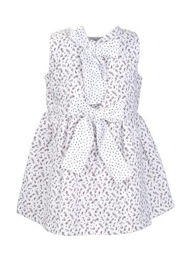 Mininio Bej Fiyonklu Desenli Elbise (9ay-4yaş) Bej Fiyonklu Desenli Elbise (9ay-4yaş) Bej